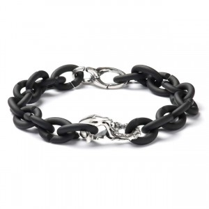 XSA018 Black bracelet with silver clasp  Virgo