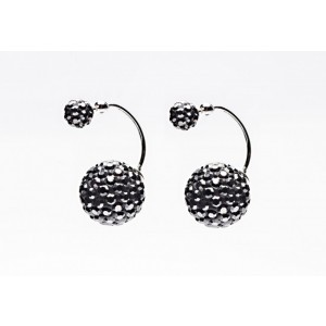 DD11210 Twisted Double Dots Hematite Crystal Earrings