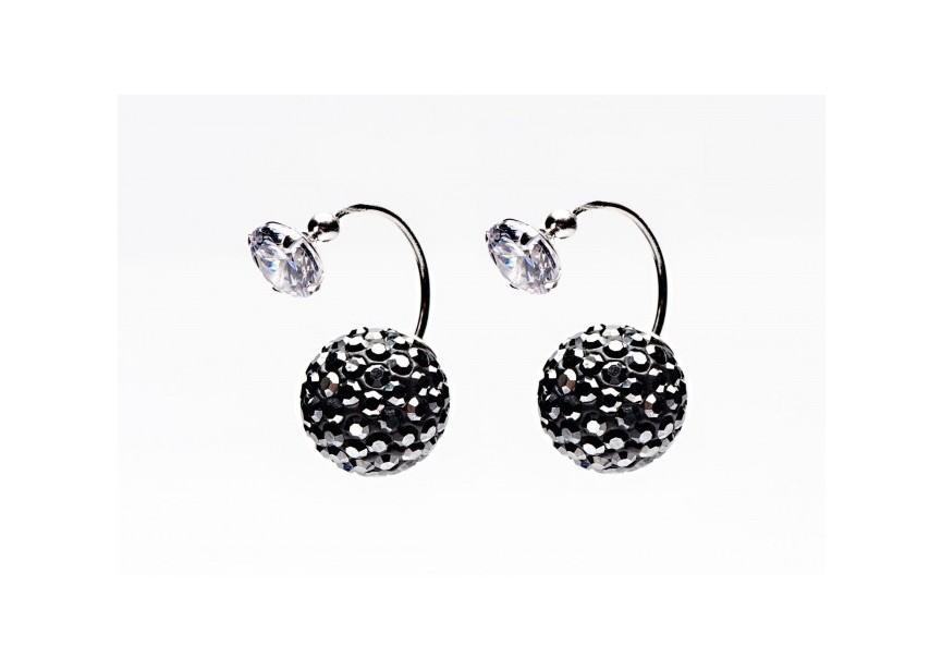 twisted double dots hematite crystal zircon oorbellen online kopen