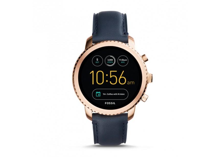 Leather Gen Q Montre Explorist Navy Smartwatch Ftw4002 3 Fossil sdtrxhCQ