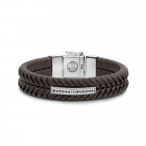161BR Buddha To Buddha Komang Leather Brown armband