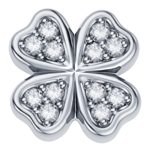 DCHF3445.003 Elements DonnaOro white gold four leaf clover with diamond
