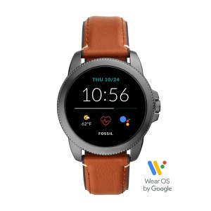 FTW4055 Fossil Gen 5E Montre connecté Steeler HR Smoke Brown Leather